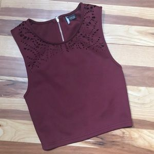 Silence + Noise Cutout laser eyelet crop top